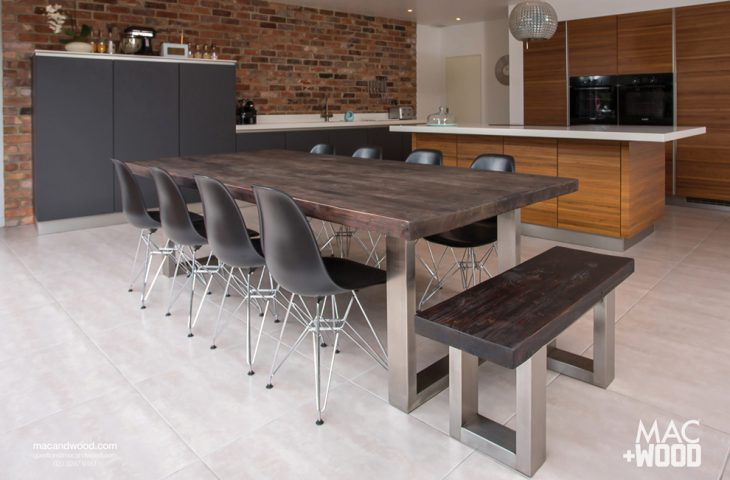 Dining Tables   Mac Wood   Wooden Contemporary Furniture  Aged Copper  top with Signature Brushed Stainless Steel frame. Brushed Stainless Steel Frames   Modern Furniture With Steel Frames