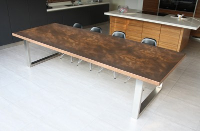 Aged Copper Dining Table by Mac+Wood