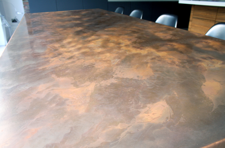 Aged Copper Dining Table close up by Mac+Wood