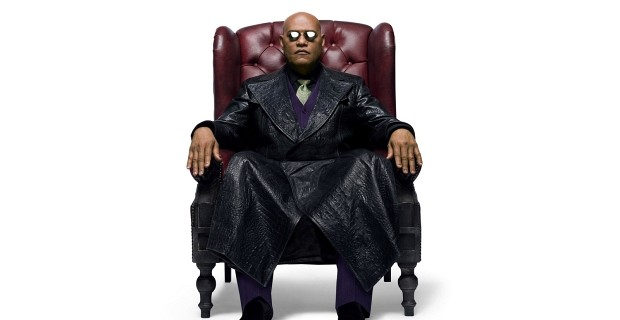 The Prince of sci-fi sits on his throne, the Red Leather Wingback Chesterfield-style chair in The Matrix (1999)