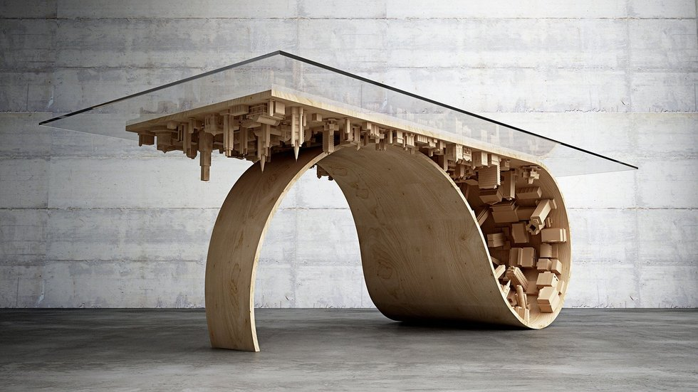 A truly inspired piece, The Waave Coffee Table is based on a scene from Incecption (2010)