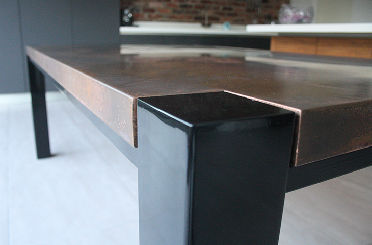 Trunk table copper distressed finish