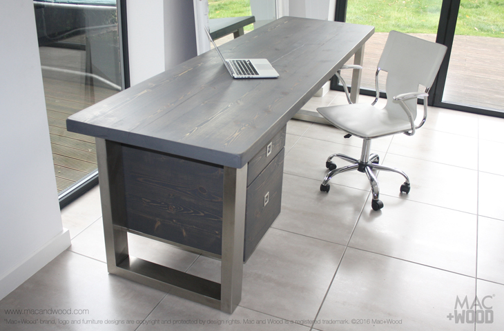 Mac+Wood Grey Desk and draws