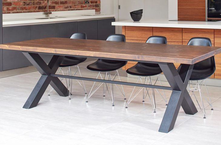 Mac+Wood Cross table design with reclaimed wood