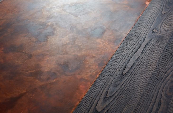 Ash with Aged Copper inlay table top by Mac+Wood