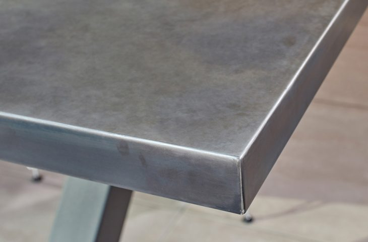 Zinc table top with light patina finish by Mac+Wood