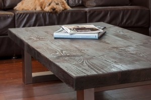 Reclaimed Wood and Steel Coffee Table by Mac+Wood
