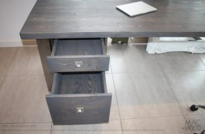 Mac+Wood Grey Desk draws open