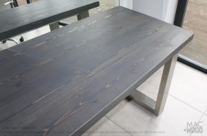 Grey wood and steel finish
