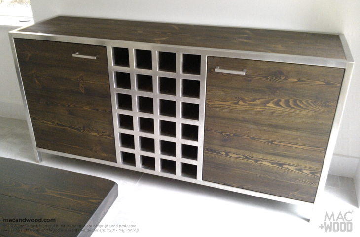 Sideboard And Wine Rack From Reclaimed Ash Oak Copper