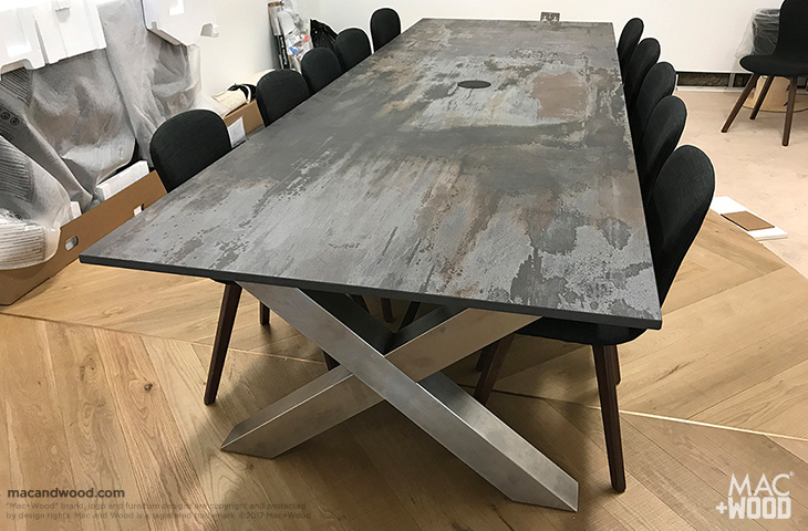 Mac+Wood Dekton Trillium Cross Frame meeting table
