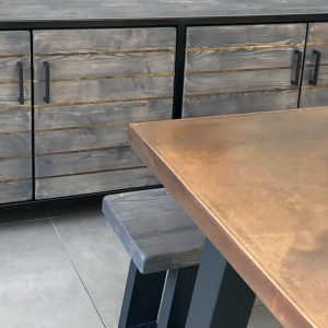 Sweep table and matching sideboard