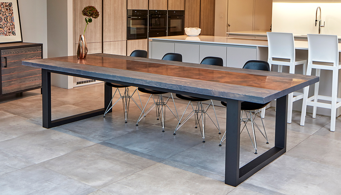 401b646bcbd7f Wenge dining tables. Mac+Wood Signature table with Ash and Aged copper inlay