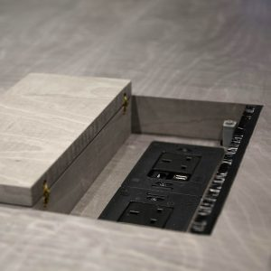 AV unit with flap meeting table