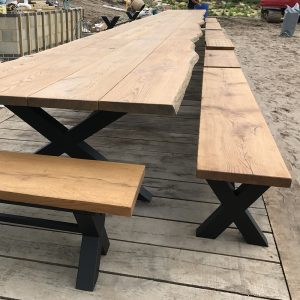 Oak banquet table with matching benches